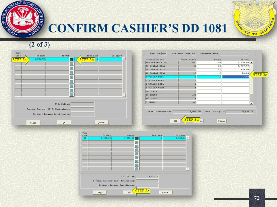 CONFIRM CASHIER'S DD 1081 (2 of 3) STEP 3a STEP 3b STEP 3c STEP 3d