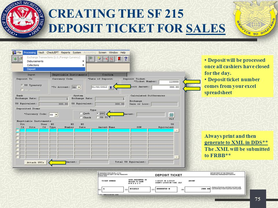 CREATING THE SF 215 DEPOSIT TICKET FOR SALES