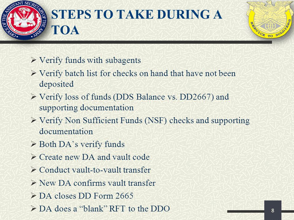 STEPS TO TAKE DURING A TOA