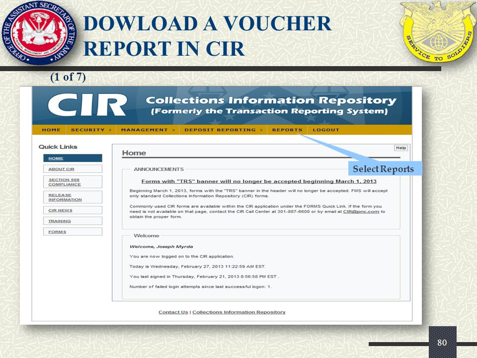 DOWLOAD A VOUCHER REPORT IN CIR