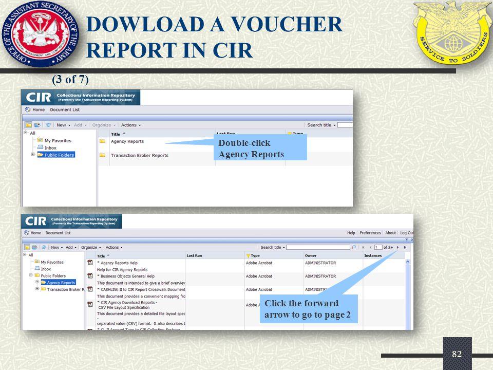 DOWLOAD A VOUCHER REPORT IN CIR