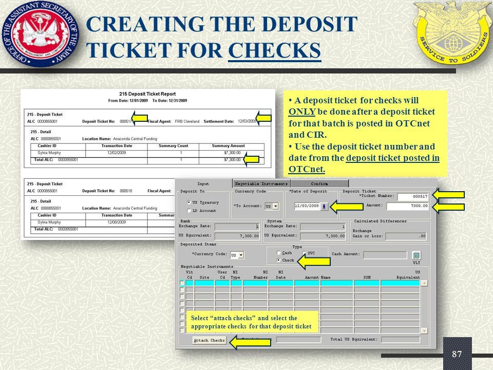 CREATING THE DEPOSIT TICKET FOR CHECKS