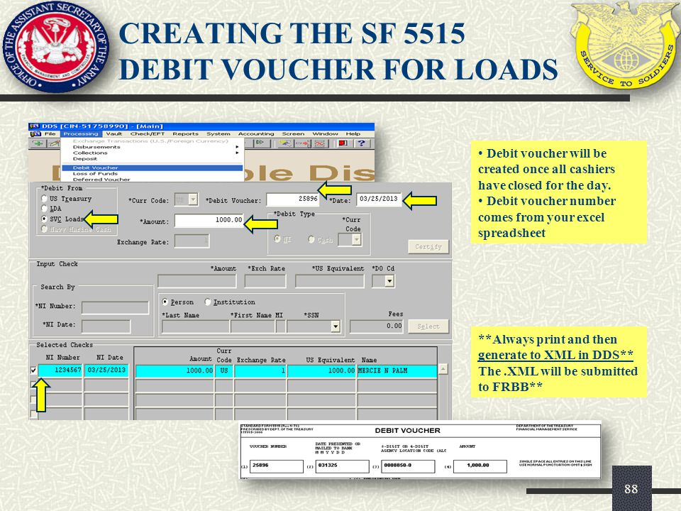 CREATING THE SF 5515 DEBIT VOUCHER FOR LOADS