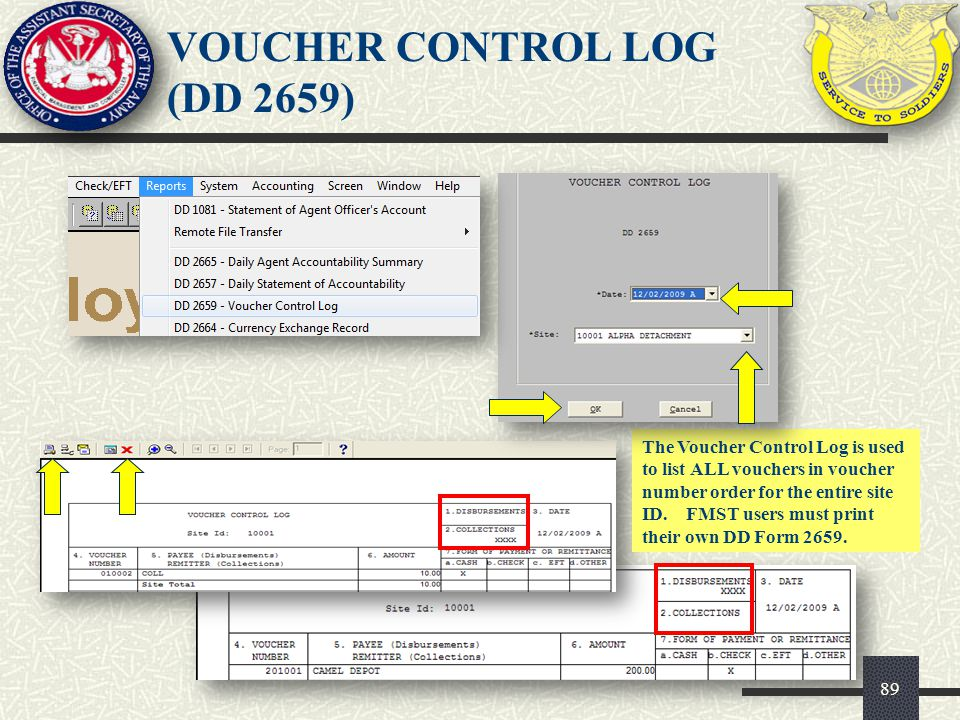 VOUCHER CONTROL LOG (DD 2659)
