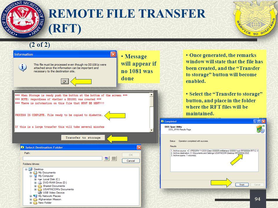 REMOTE FILE TRANSFER (RFT)