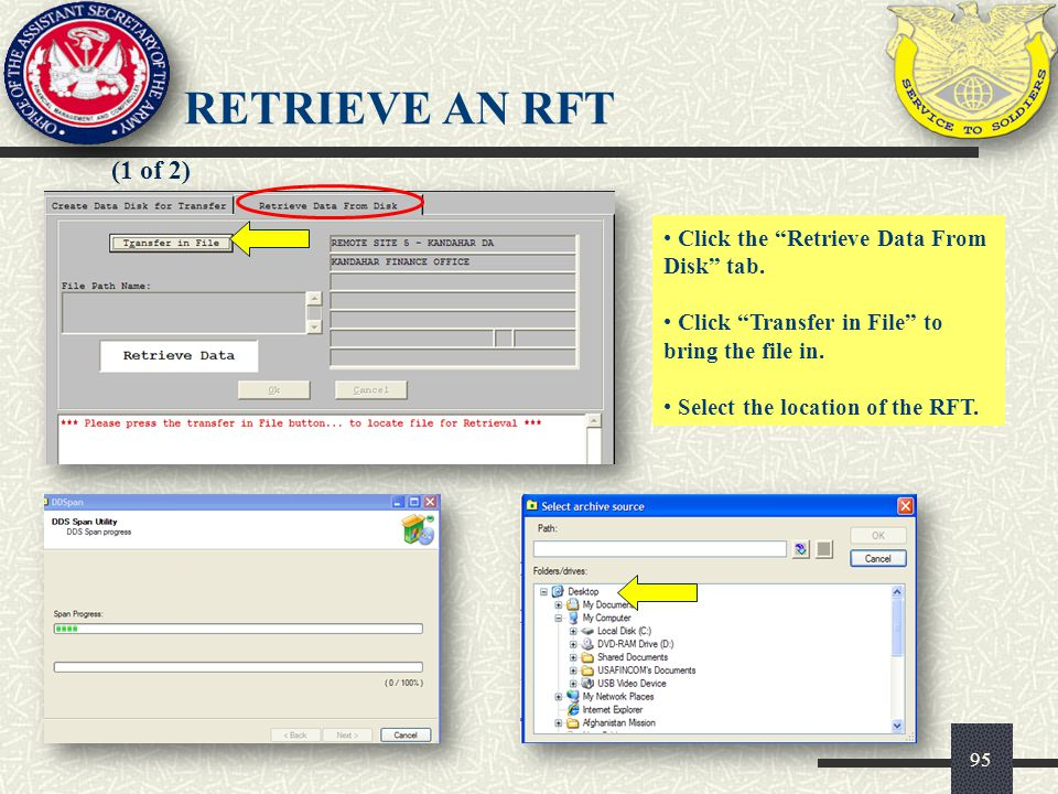 RETRIEVE AN RFT (1 of 2) Click the Retrieve Data From Disk tab.