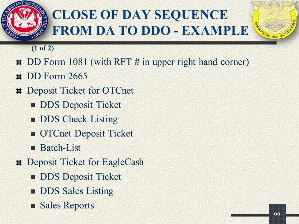 CLOSE OF DAY SEQUENCE FROM DA TO DDO - EXAMPLE