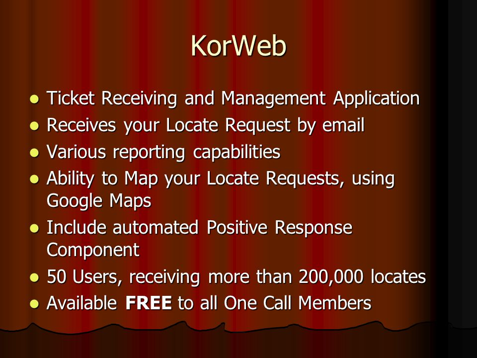 KorWeb Ticket Receiving and Management Application