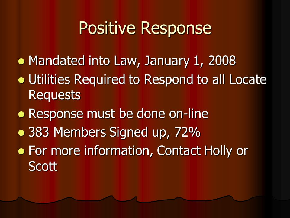 Positive Response Mandated into Law, January 1, 2008