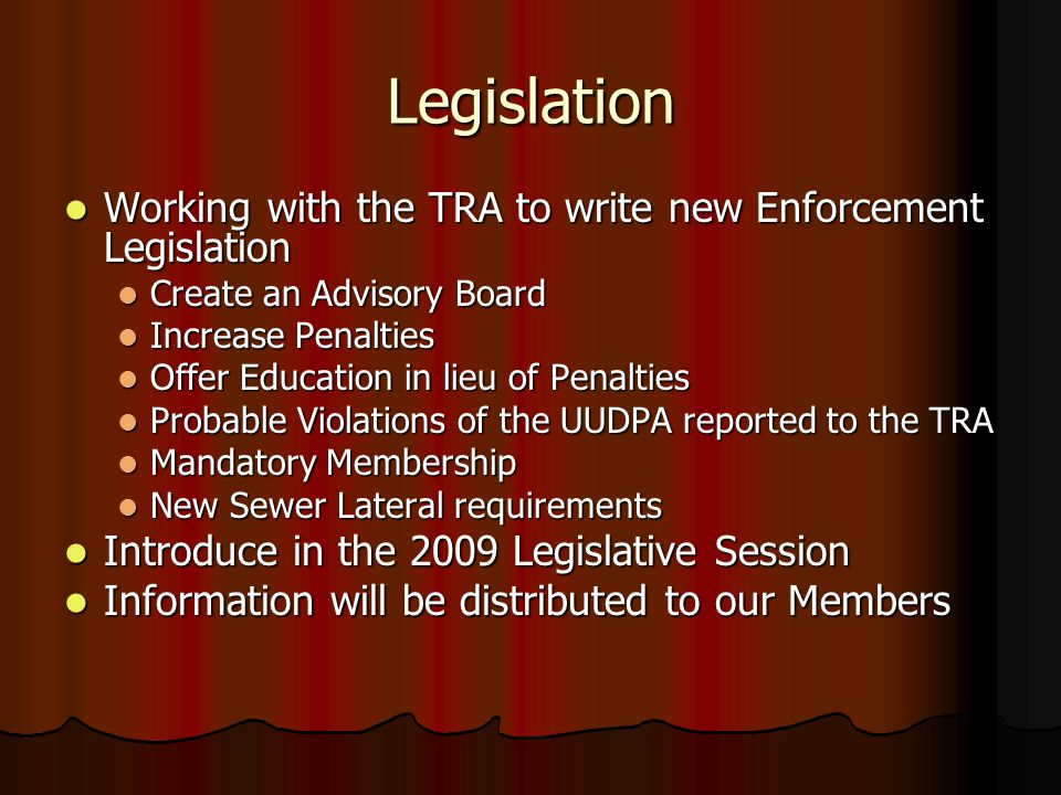 Legislation Working with the TRA to write new Enforcement Legislation