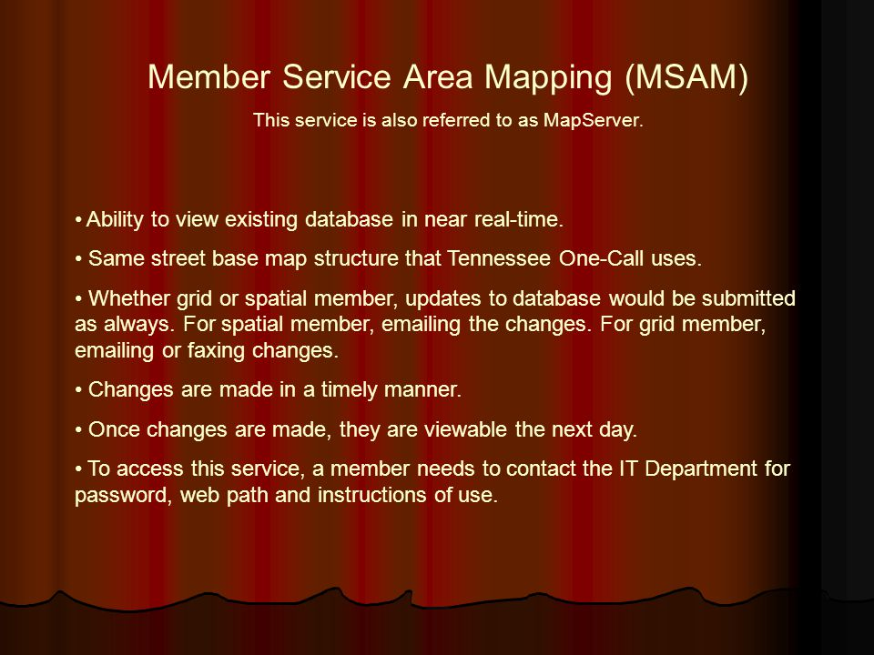 Member Service Area Mapping (MSAM)