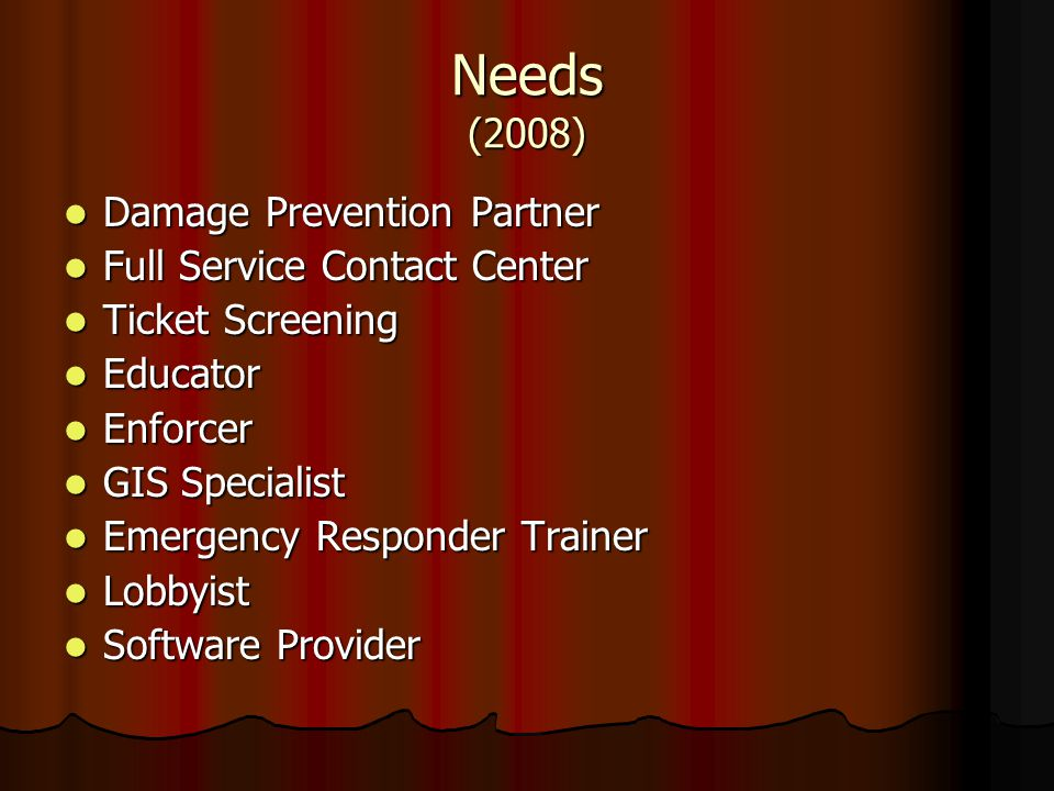 Needs (2008) Damage Prevention Partner Full Service Contact Center