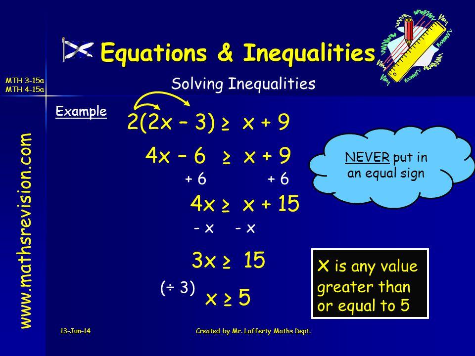 Equations & Inequalities
