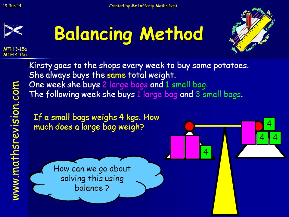 Balancing Method www.mathsrevision.com
