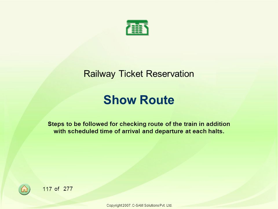 Railway Ticket Reservation Show Route