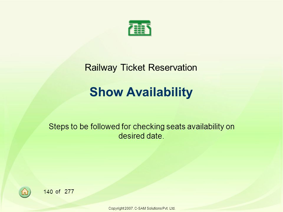 Railway Ticket Reservation Show Availability