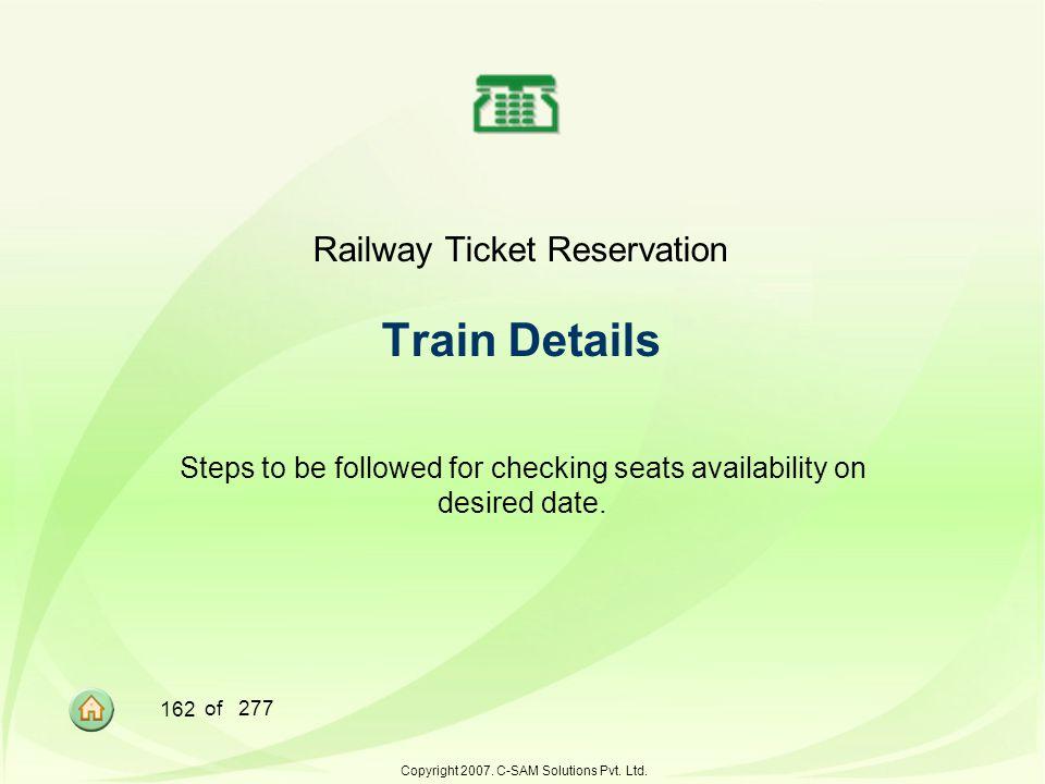 Railway Ticket Reservation Train Details
