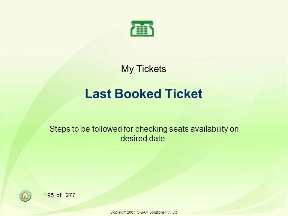 My Tickets Last Booked Ticket