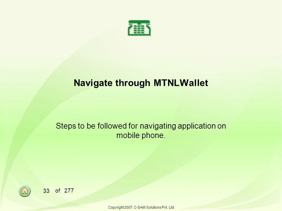 Navigate through MTNLWallet