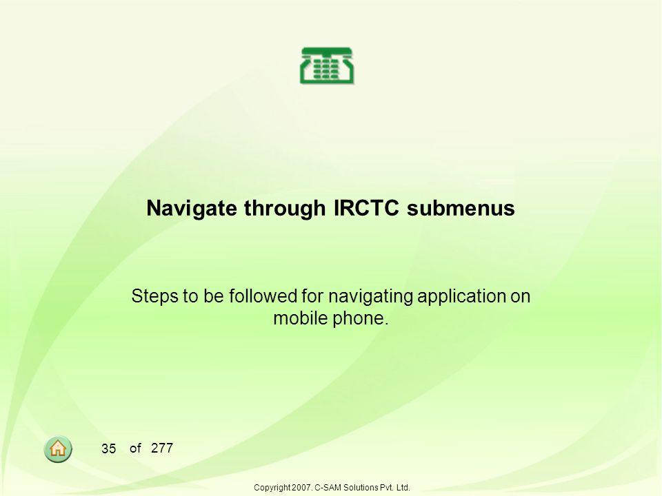 Navigate through IRCTC submenus