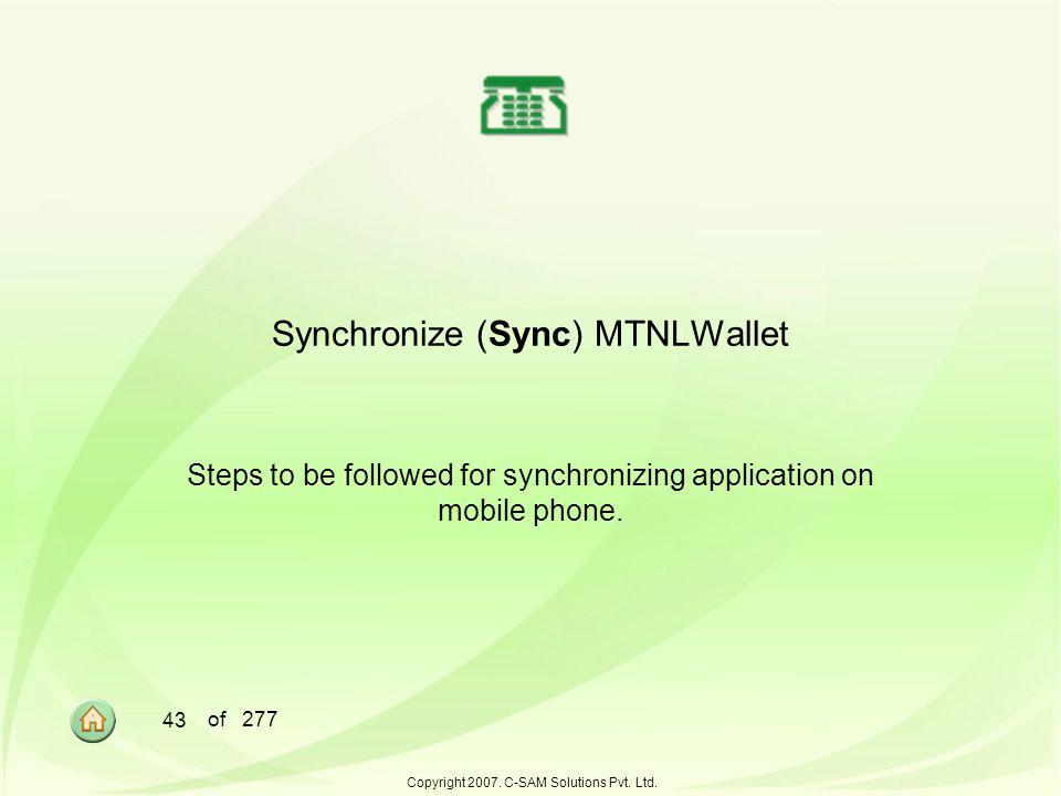 Synchronize (Sync) MTNLWallet