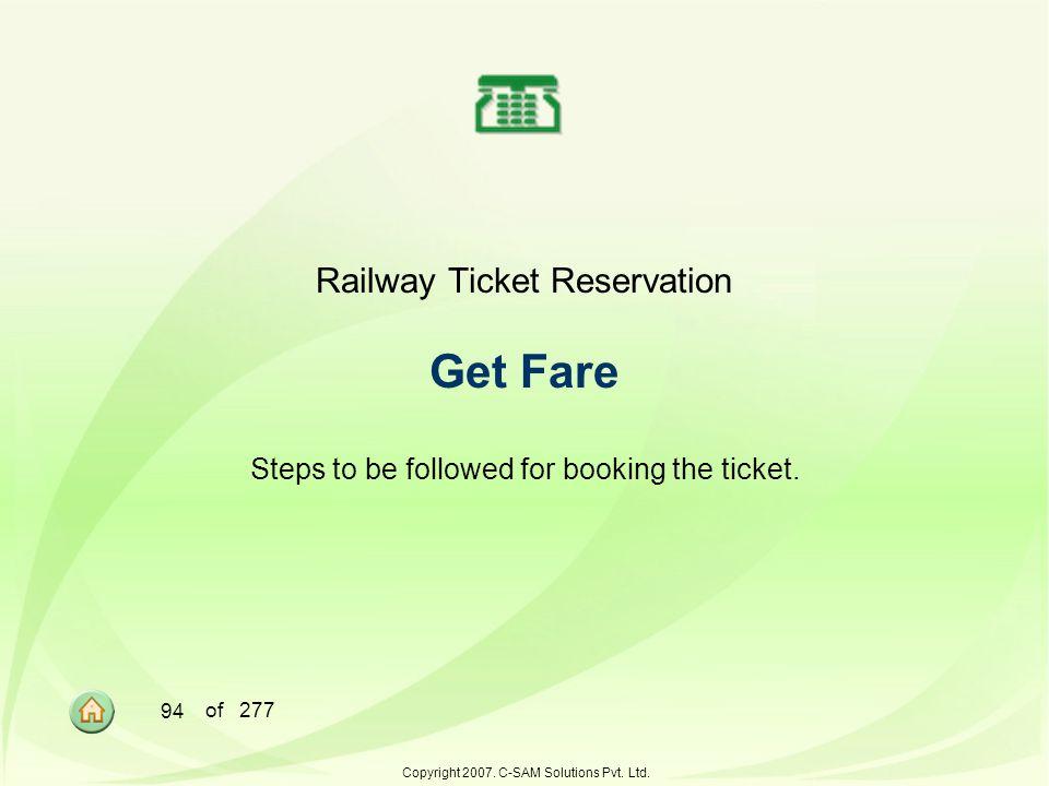 Railway Ticket Reservation Get Fare