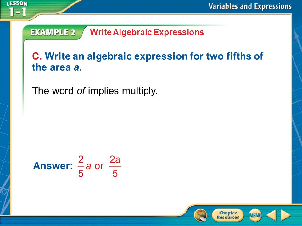 C. Write an algebraic expression for two fifths of the area a.