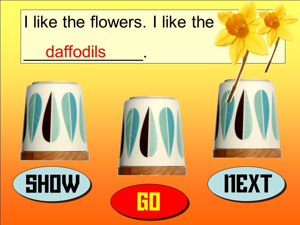 I like the flowers. I like the _____________. daffodils