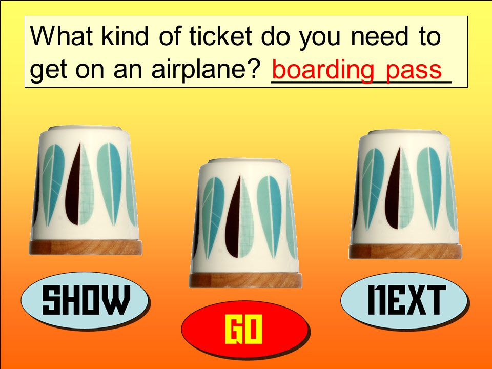 What kind of ticket do you need to get on an airplane ____________