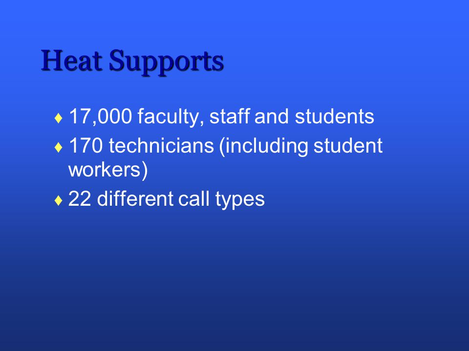 Heat Supports 17,000 faculty, staff and students