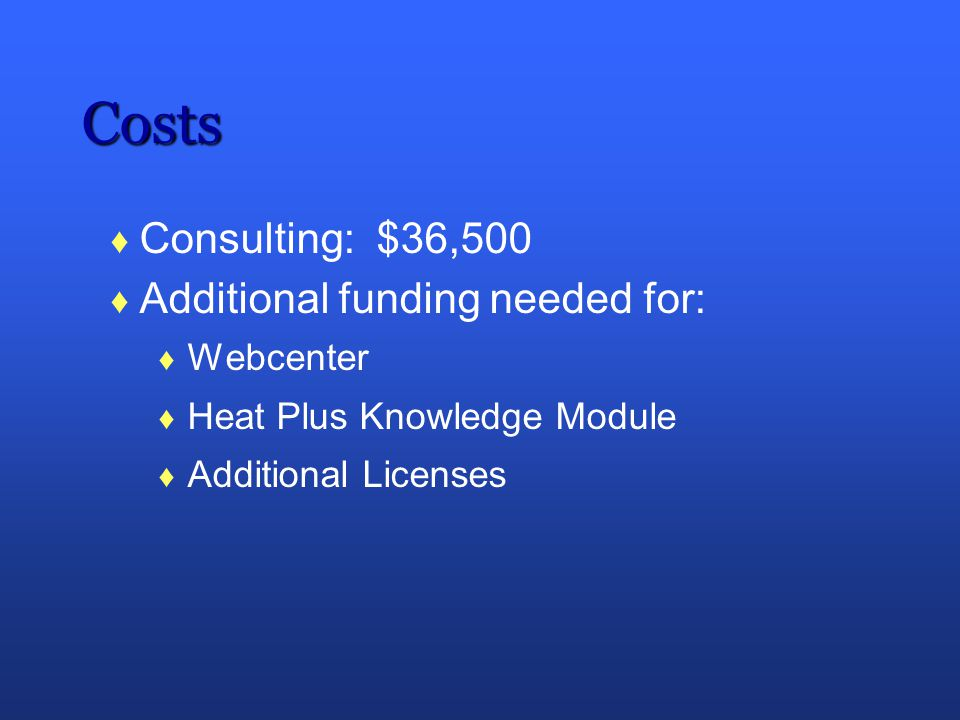 Costs Consulting: $36,500 Additional funding needed for: Webcenter