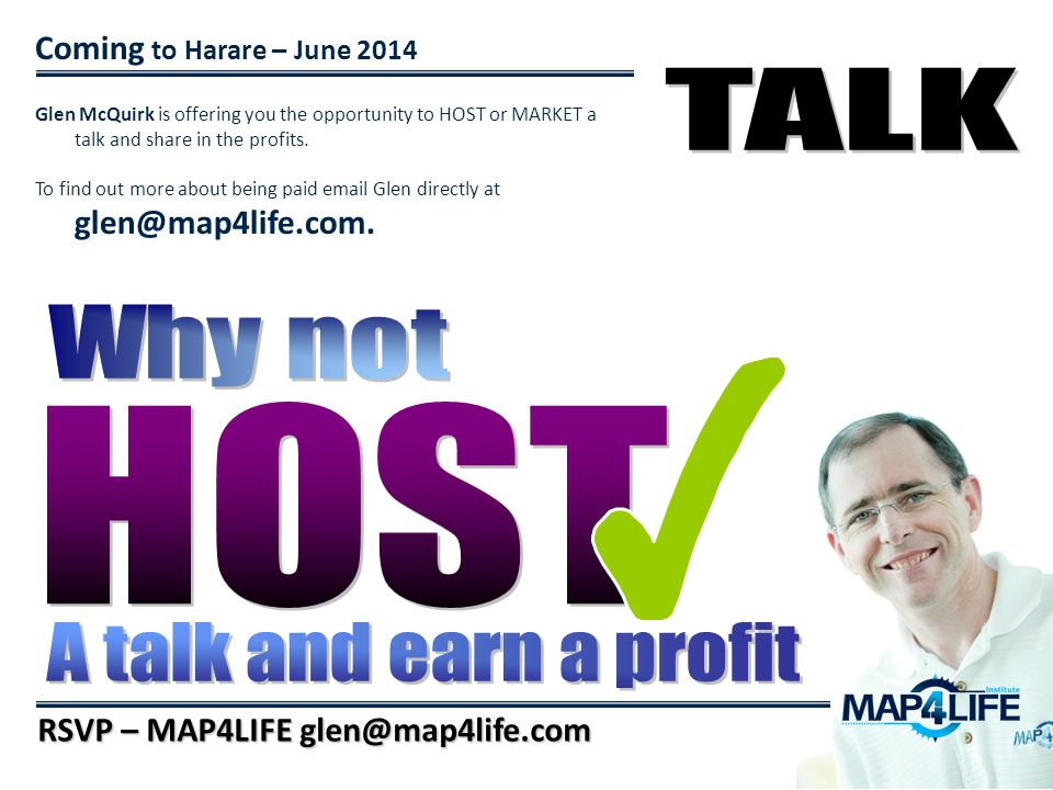 TALK Why not HOST A talk and earn a profit