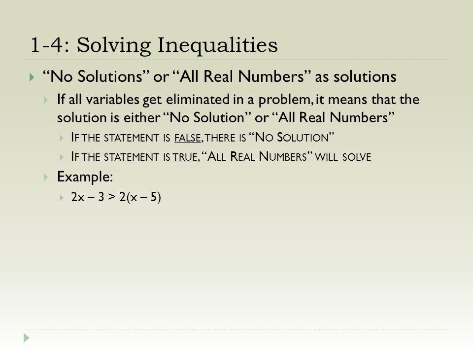 1-4: Solving Inequalities