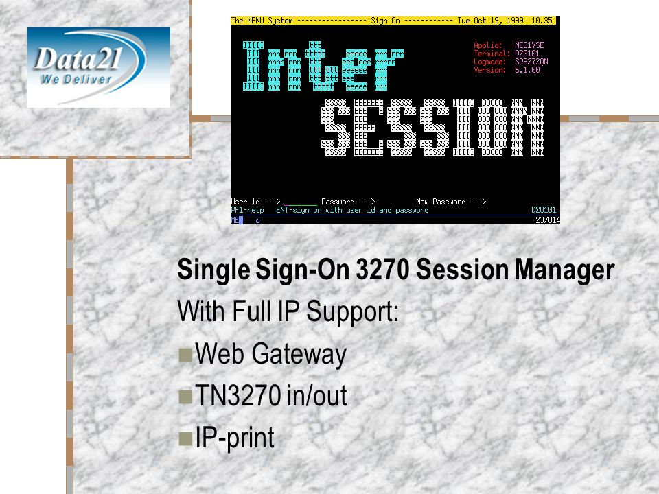 InterSession Single Sign-On 3270 Session Manager With Full IP Support: