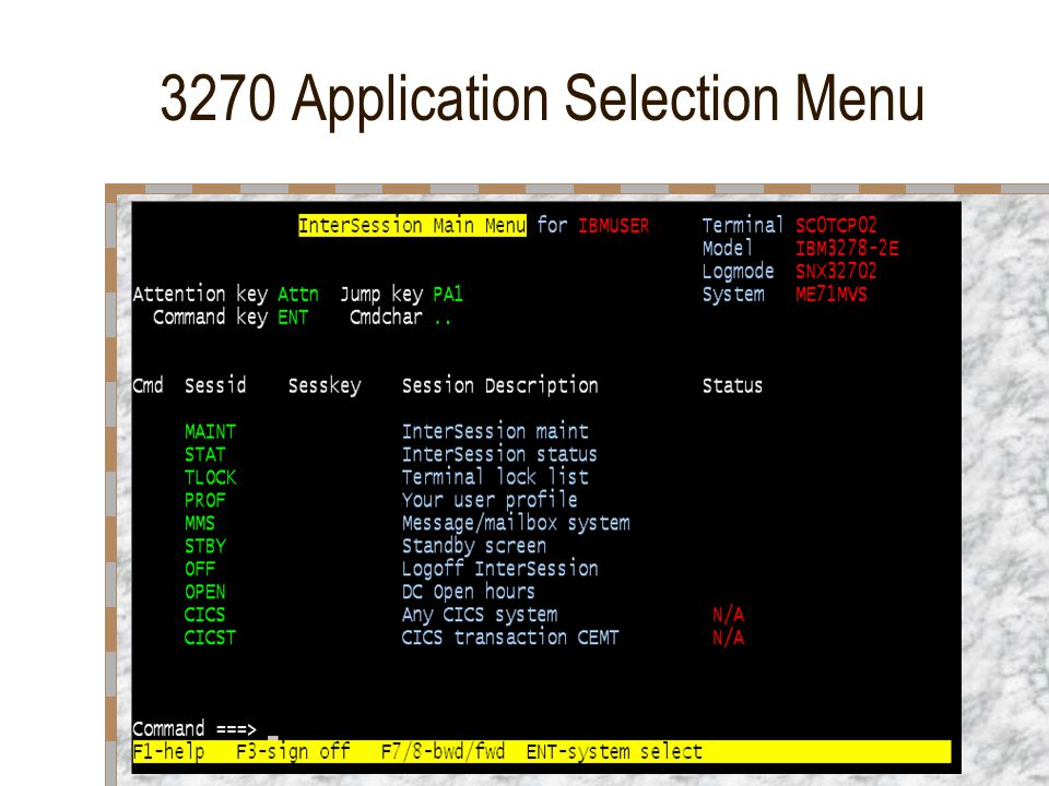 3270 Application Selection Menu