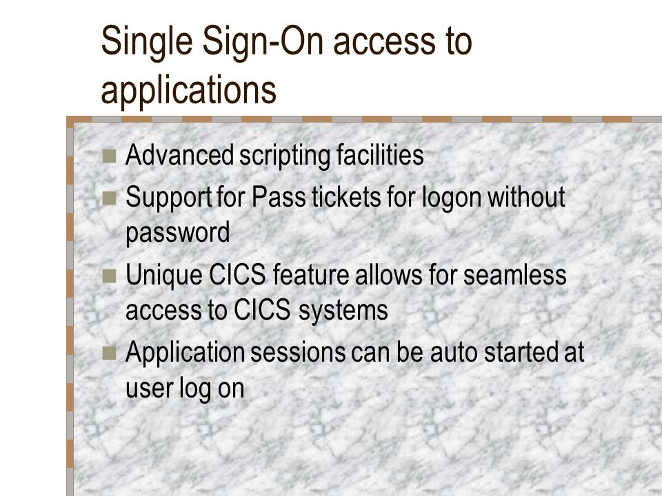 Single Sign-On access to applications