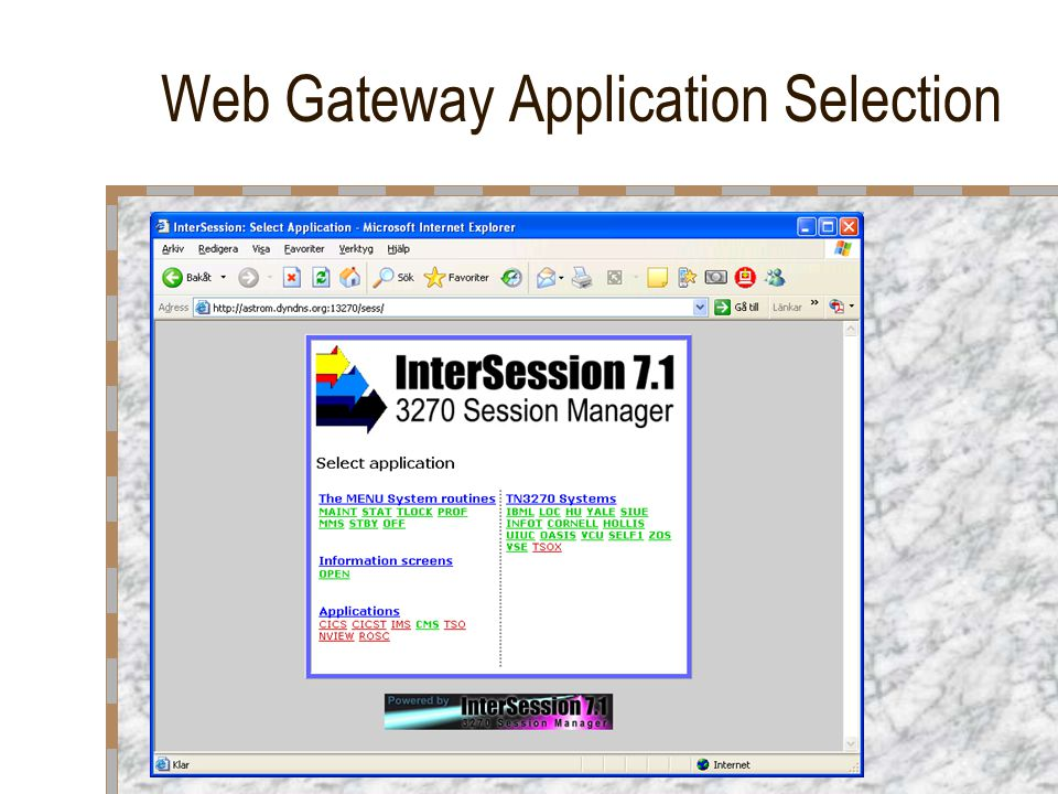 Web Gateway Application Selection