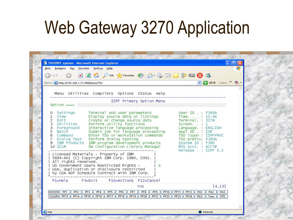 Web Gateway 3270 Application