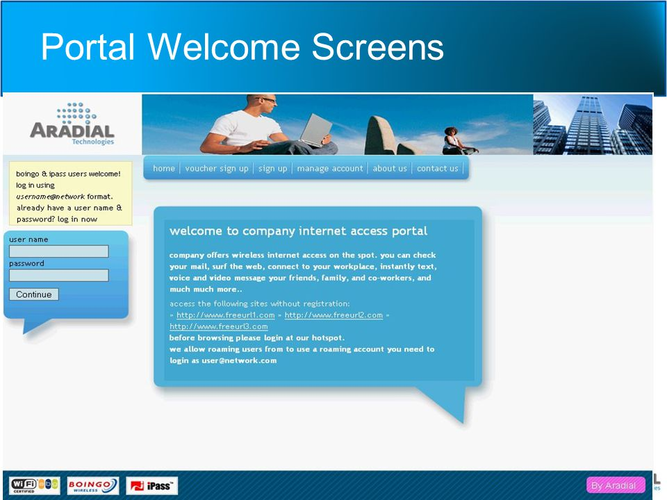 Portal Welcome Screens