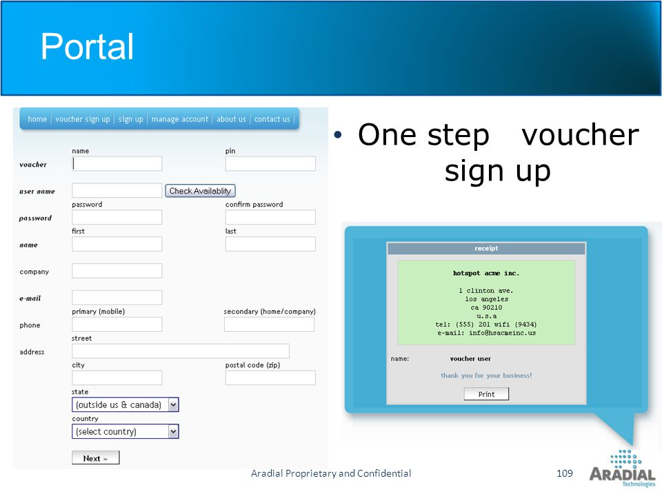 Portal One step voucher sign up Aradial Proprietary and Confidential