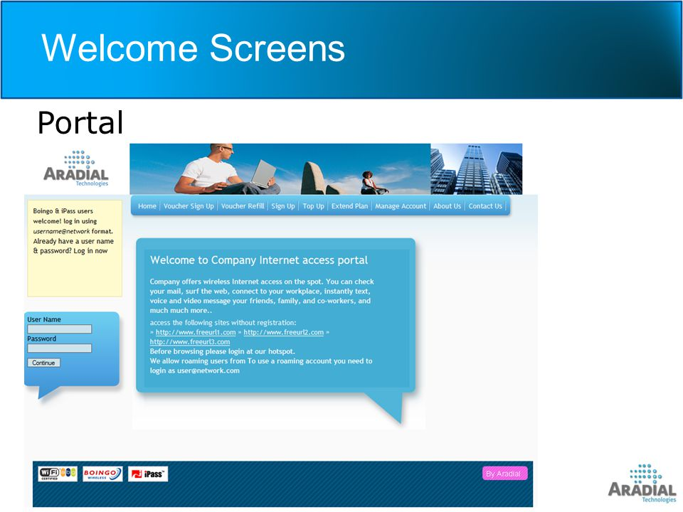 Welcome Screens Portal