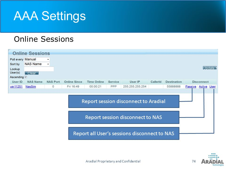 AAA Settings Online Sessions Report session disconnect to Aradial