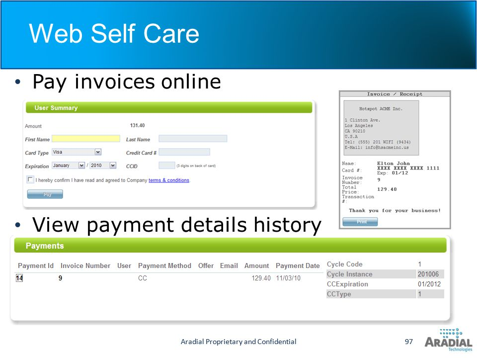 Web Self Care Pay invoices online View payment details history