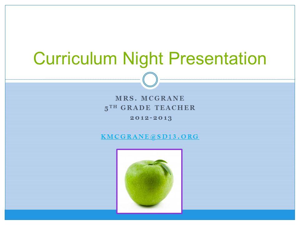 Curriculum Night Presentation