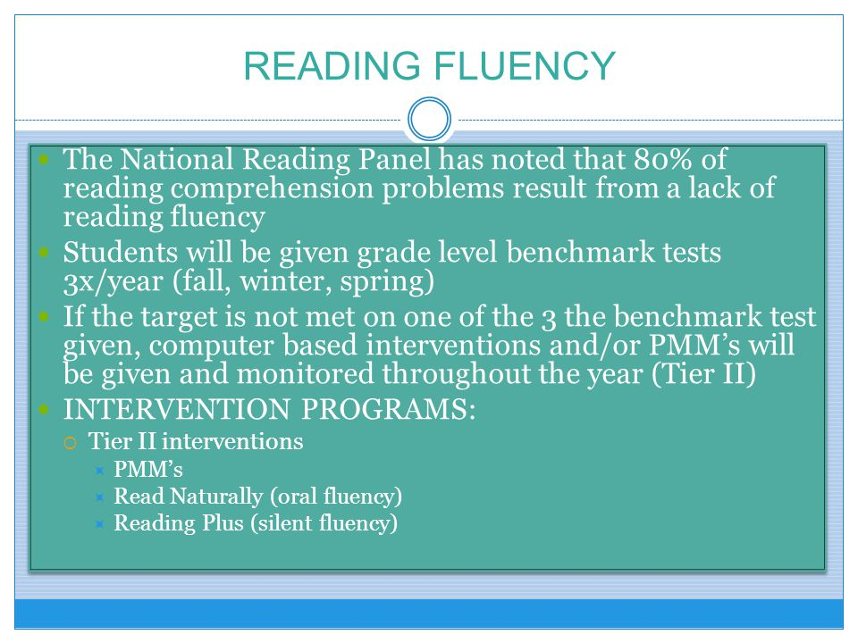 READING FLUENCY The National Reading Panel has noted that 80% of reading comprehension problems result from a lack of reading fluency.