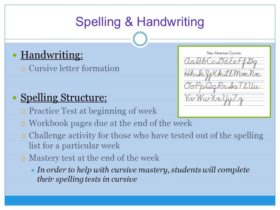Spelling & Handwriting