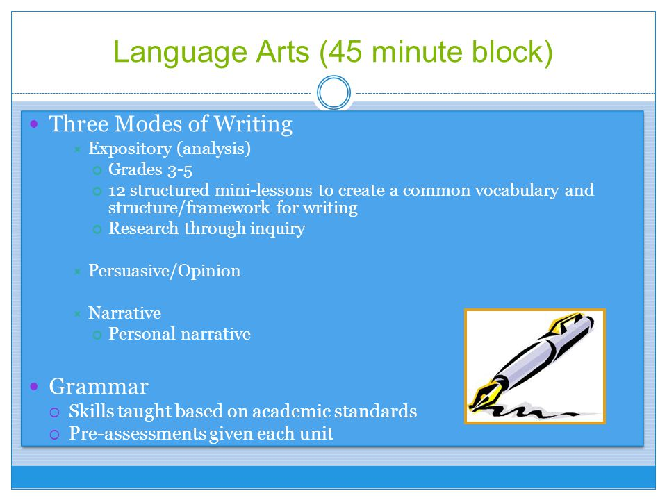 Language Arts (45 minute block)