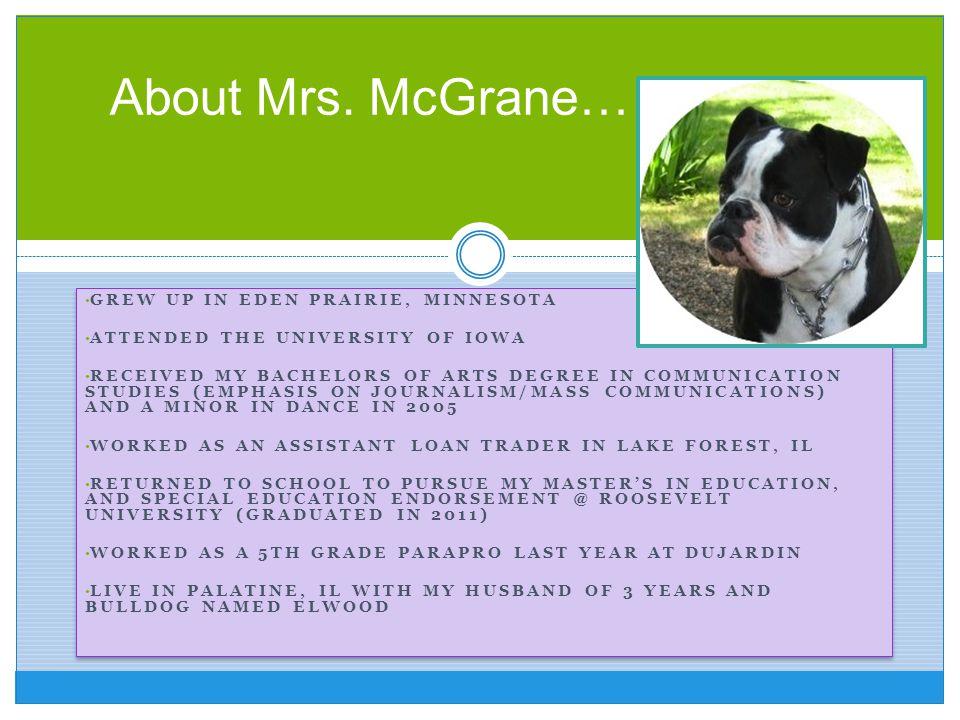About Mrs. McGrane… Grew up in Eden Prairie, Minnesota