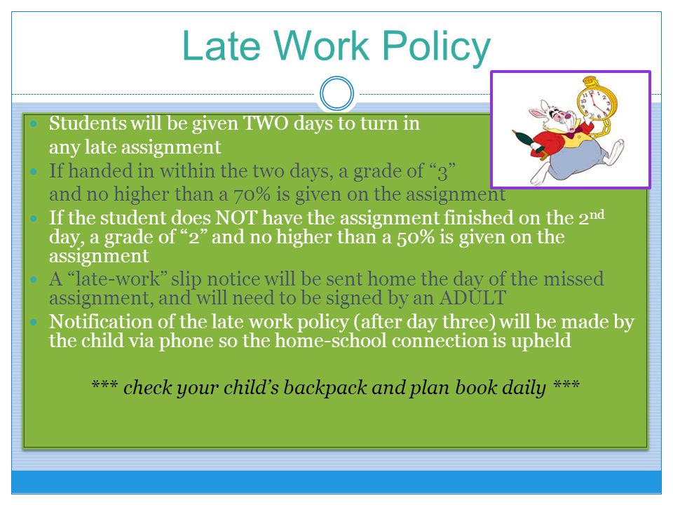 *** check your child's backpack and plan book daily ***