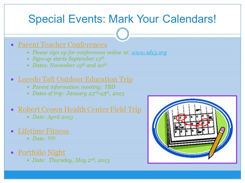 Special Events: Mark Your Calendars!